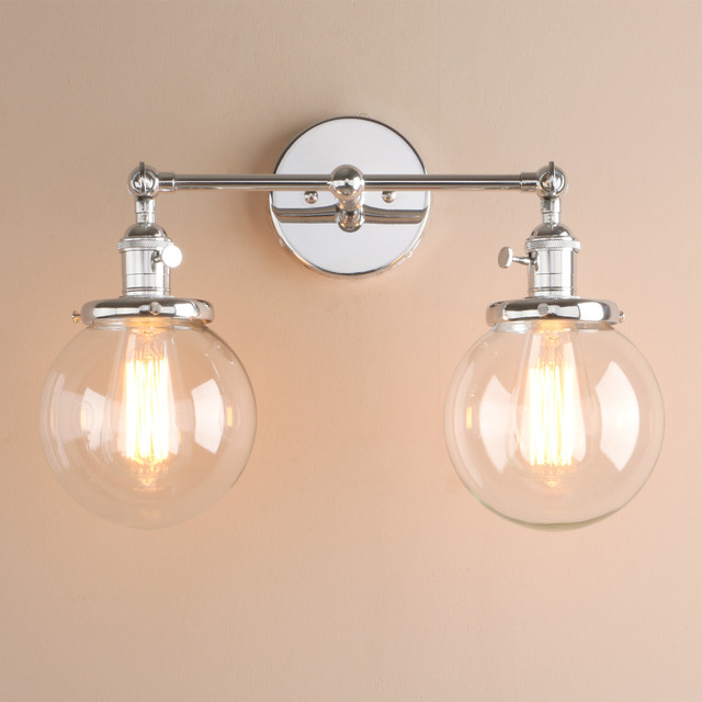 Permo Modern Bedroom Wall Lights Stair Wall Lamp Sconce 5.9'' Globe Glass Double Ball Heads Vintage Indoor Lighting Fixtures 1