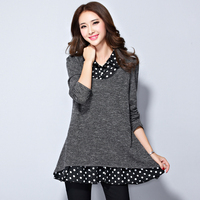 Women Blouses 2017 Fashion Knittin Shirts Plus Size Ladies Tops Grey Casual Long Sleeve Chiffon Patchwork