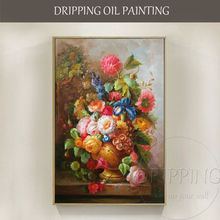 Excellent Artist Hand-painted High Quality Luxury Vase Flower Oil Painting Traditional Chinese Style in
