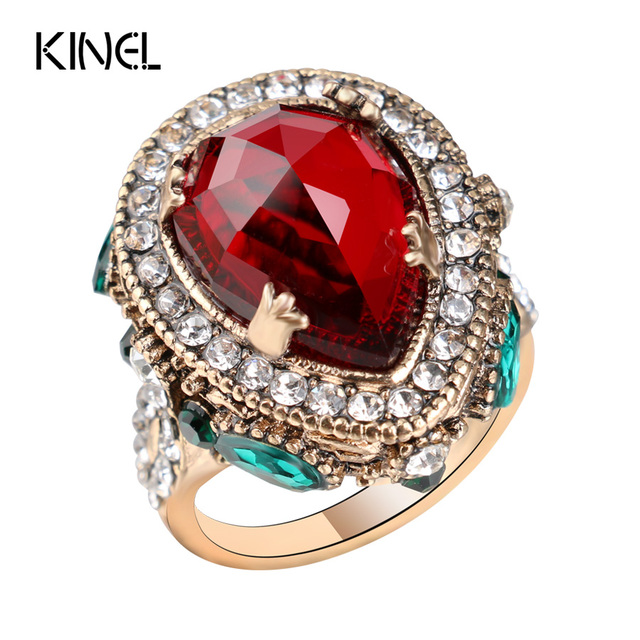2017 New Luxury Vintage Wedding Rings For Women Red Crystal Color Antique Gold Punk Party Tail