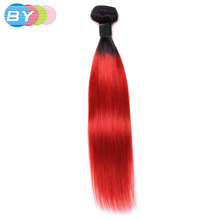 BY Pre-Colored Non-Remy Hair Extension Brazilian Straight Hair Human Hair Weave Ombre T1B Red Hair Color 1 Piece Free Shipping