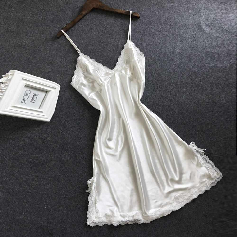 2020 ropa de dormir para mujer camisones sólido Sexy Bowknot Encaje Lencería Babydoll cuello en V ropa interior nuevo vestido Vintage para mujer