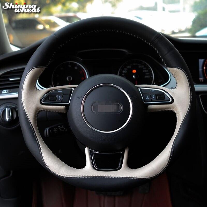 Brillant blé Noir Beige En Cuir cousu Main Couverture De Volant de Voiture pour Audi A1 A3 A5 A7