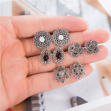4 Pairs/set Vintage Antique Silver Hollow Flower Pattern Stud Earrings Set  For Women Party Statement Jewelry Boucle Doreille
