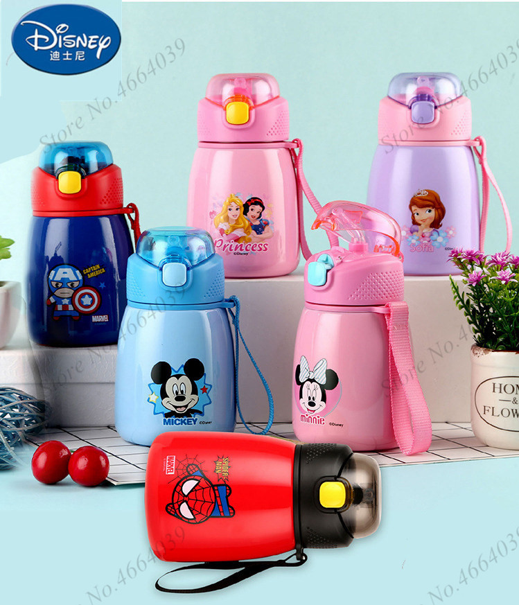 Disney Baby Feeding Cup With Straw New Stainless Steel Insulation Learn Drinking Cup Thermal Bottle Leak-poof Kettle Sippy Cup