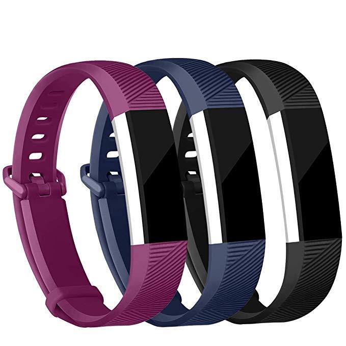 Paquete de 3 correas inteligentes de silicona suave, correa de silicona de repuesto de Alta calidad para pulsera inteligente Fitbit Alta HR