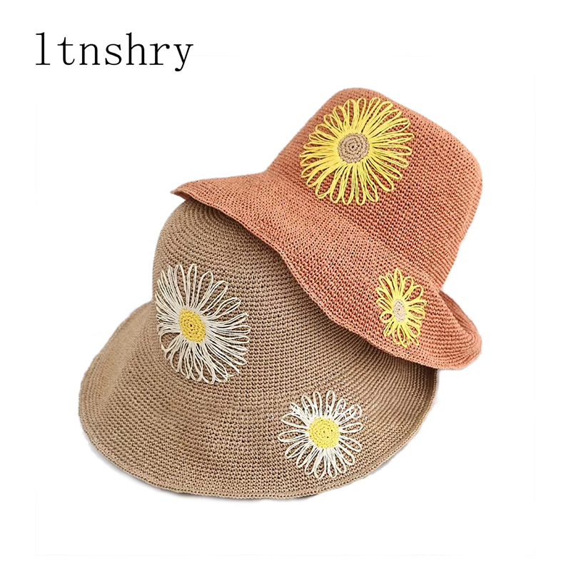 Summer Wide Brim Straw Boater Panama Hat Bucket cap Hand Hook Flower Sun Basin Hat Fashion Beach Hat Outdoors Foldable Sun Hat in Women 39 s Sun Hats from Apparel Accessories