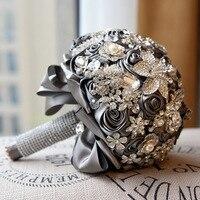 DIA 20CM Luxury Full Crystal Handwork Flower Wedding Bouquet Pearl Rhinestone Ribbon Bridal Bouquet Romantic Wedding Accessories