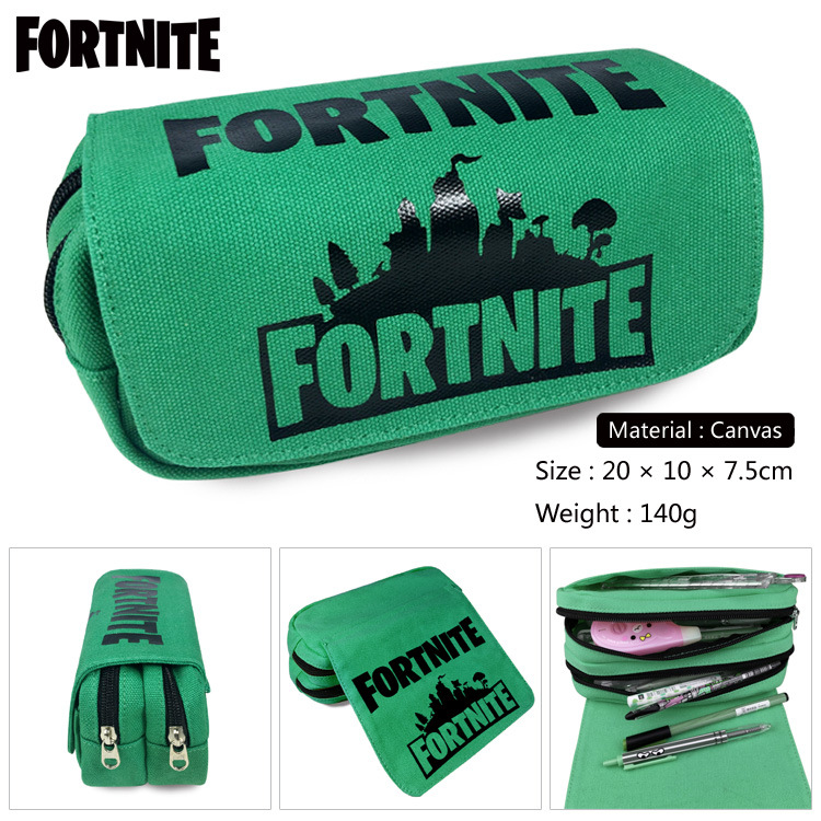 Fortress Night Game Pen Bag Hat Fortnite Surrounding School Student Pencil Bag Double Stationery Box Large Capacity Storage Bag big capacity high quality canvas shark double layers pen pencil holder makeup case bag for school student with combination coded lock