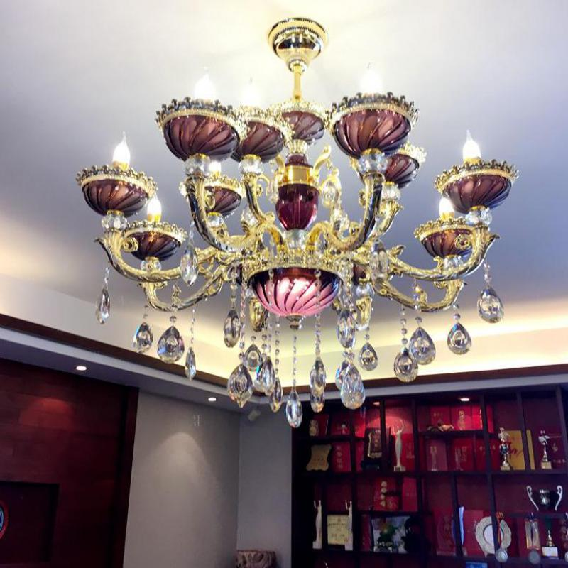 Ballroom Art deco Gold wall Lamps for dining room Hallway purple clear crystal wall light Restaurant wall sconce LED Arandela