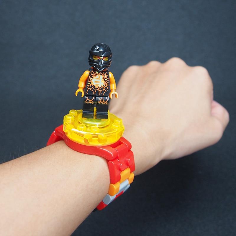 Ninja weapon Super Hero Batman Iron Man original Box Figures Wrist Watch Building Block brick  DIY Lepines toys for children