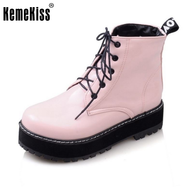 ФОТО Women Flats Half Short Boots Lace Up Round Toe Botas Fashion Student British Casual Martin Boots Shoes Woman Size 34-43