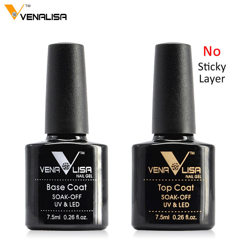 VENALISA Non Cleansing Topcoat CANNI Nail Art 7.5ml Soak Off Base Coat Foundation Without Sticky Layer No Wipe Top Coat Nail Gel