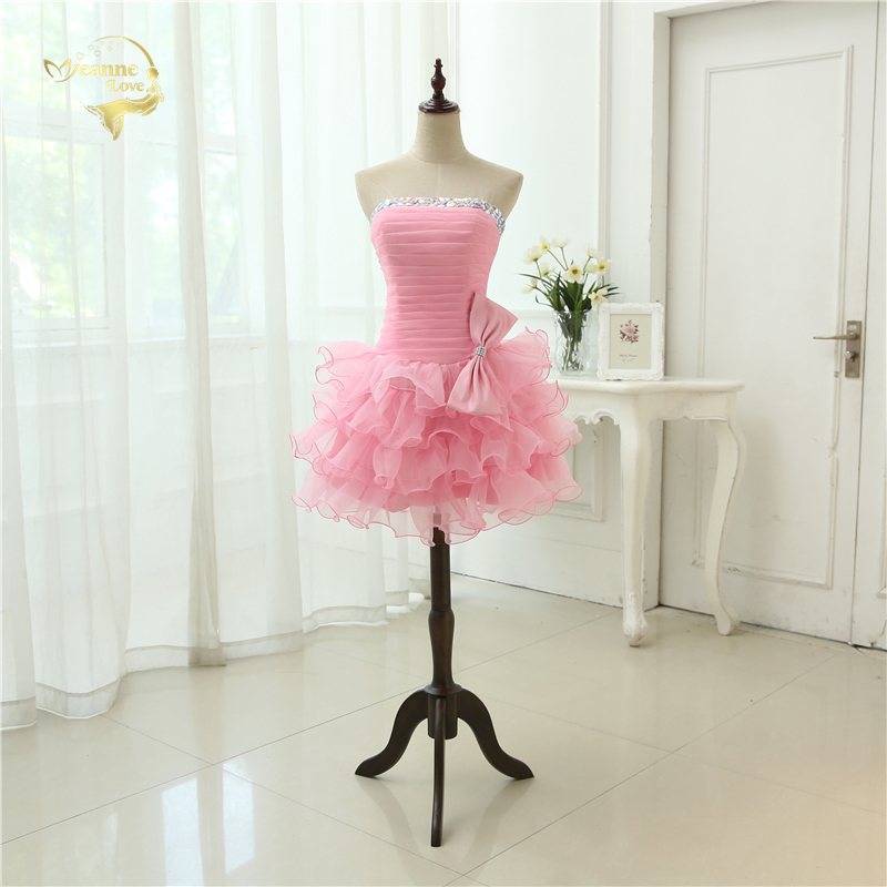 Hot Sale Vestido De Festa Curto 2019 Sexy Robe De Cocktail Rosa Blå Rød Perler Mini Organza Real Photos Cocktail Kjoler OC381