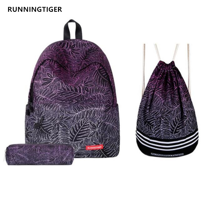 RUNNINGTIGER Women Backpacks Flower Printing Backpack Girls School Bags With Drawstring Bag and Pencil Case 3pcs Sets Schoolbag jasmine traveling unisex graffiti backpacks 3d printing bags drawstring backpack sep28