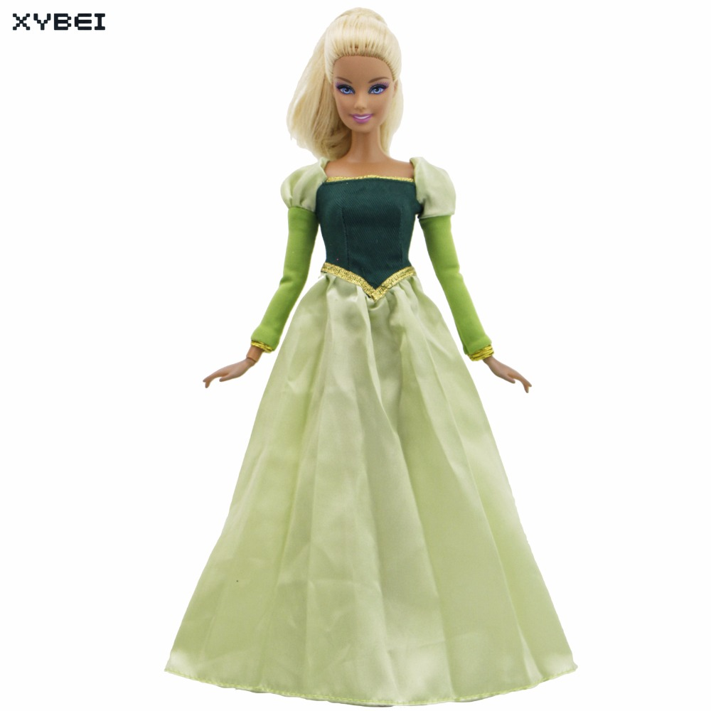 Fairly Tale Outfit Long Sleeves Green Dress Wedding Dancing Party Ball Gown Copy Bella Clothes For Barbie Doll Accessories Gifts dolls accessories dreamy party wedding gown dress 1 3 bjd sd dz aod luts dollfie doll clothes sd outfit party clothes
