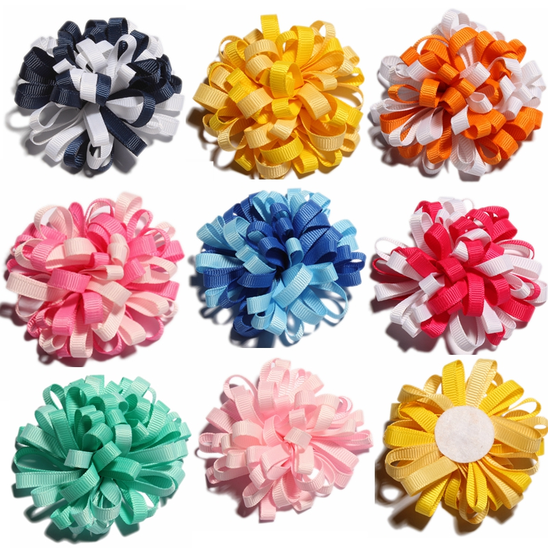 50PCS 8CM Newborn Twisted Chiffon Flower With Stitch DIY Material For Headband Artificial Fabric Flowers For Hair Accessories
