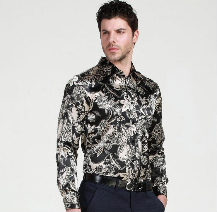 ce0fc04482 height quality fasion men's brand silk printing long sleeved shirt men's  dress shirt large size men casual shirts camisa mascul -in Casual Shirts  from ...