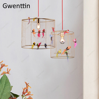 Creative Bird Cage Pendant Light Nordic Loft Home Decor for Living Room Bedroom Hanging Lamp Modern Led Light Fixtures Luminaire