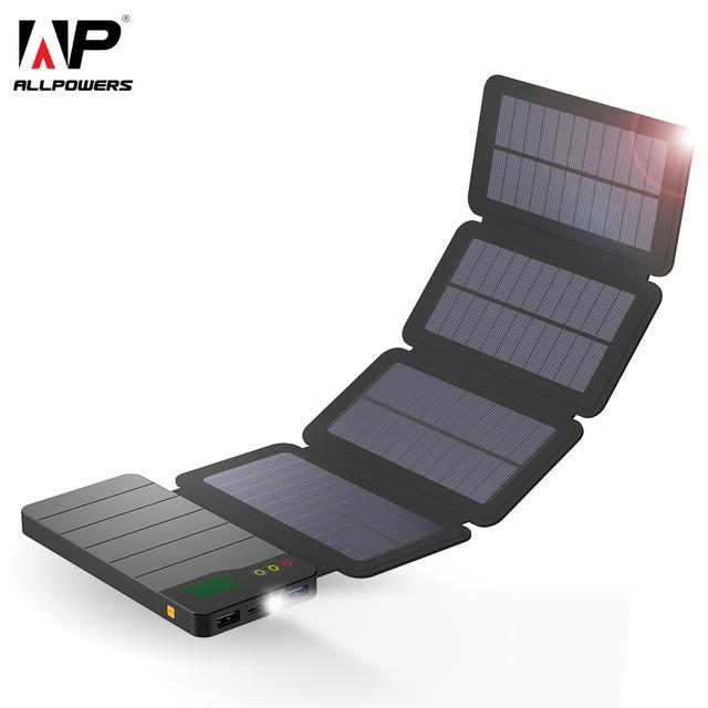 52578c6aac2 ALLPOWERS 10000 mAh Solar Power Bank Carregador Solar À Prova D' Água  Pacote de Backup