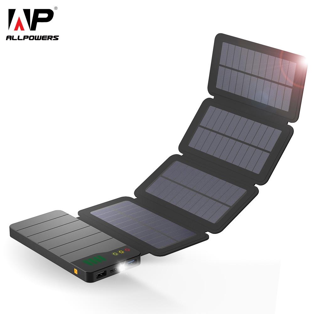 ALLPOWERS 10000 mAh batterie portable solaire étanche chargeur solaire batterie externe batterie de secours pour tablettes de téléphone portable iphone Samsung