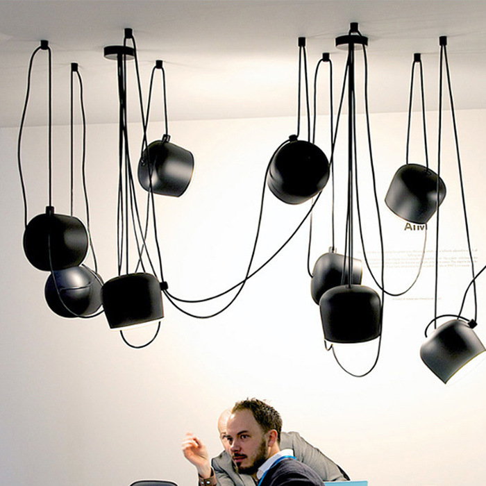 Designer, Postmodern, Minimalist Creative Art Restaurant Iron Light Aim Loft Industrial Style DIY Hanging Lamp N1470