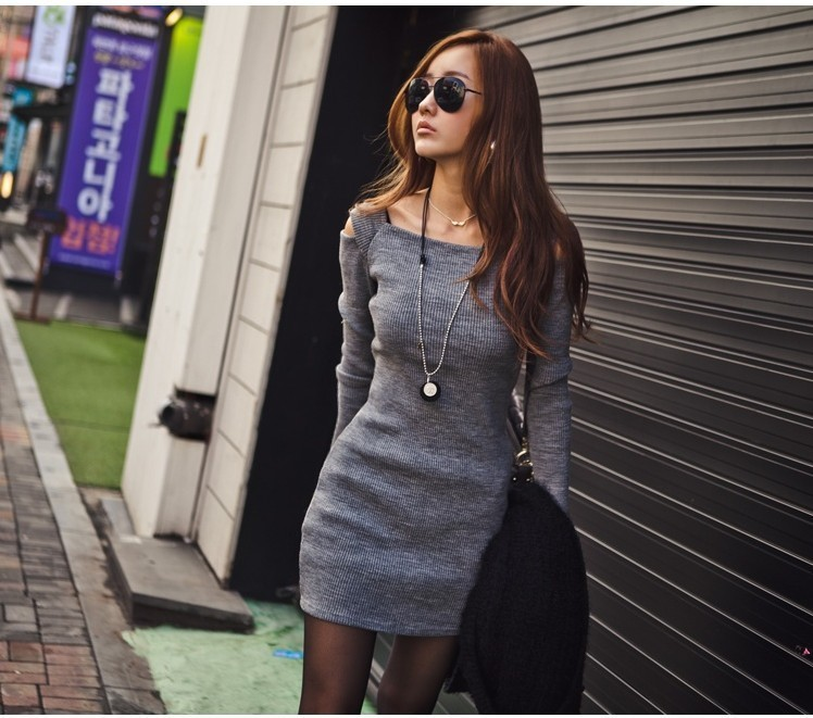 b5111a4afd Black Grey Brand Cotton Knitted Dresses for Women Girls Autumn ...