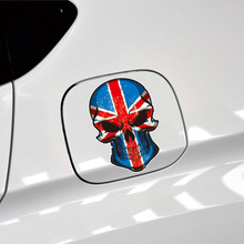 2PCS Union Jack Skull Decoration Sticker For Mercedes Benz VW Audi Side Stickers Body Decals Rearview Mirror Car-styling