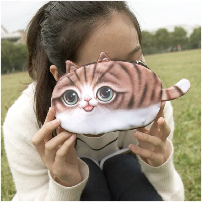 Coin purse New 3D girl wallet bag ladies face zipper mini cat animal coin purse children's purse plush coins pouch kawaii bag 2017new coin purses wallet ladies 3d printing cats dogs animal big face fashion cute small zipper bag for women mini coin purse