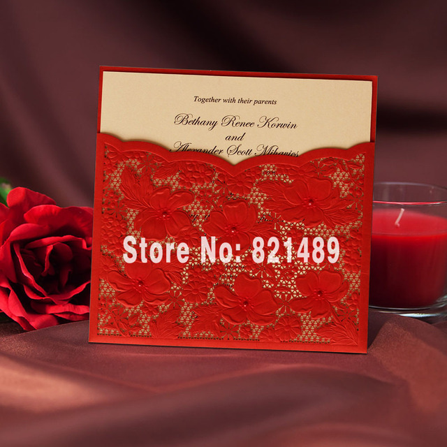 Chinese Red Pocket Wedding Invitation Traditional China Style Set Of 50