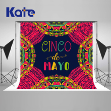 цены Kate 7x5ft Cinco Mayo Backgrounds For Photo Studio Baby Shower Cactus Red Yellow Art Children Photo Background Wall Backdrop