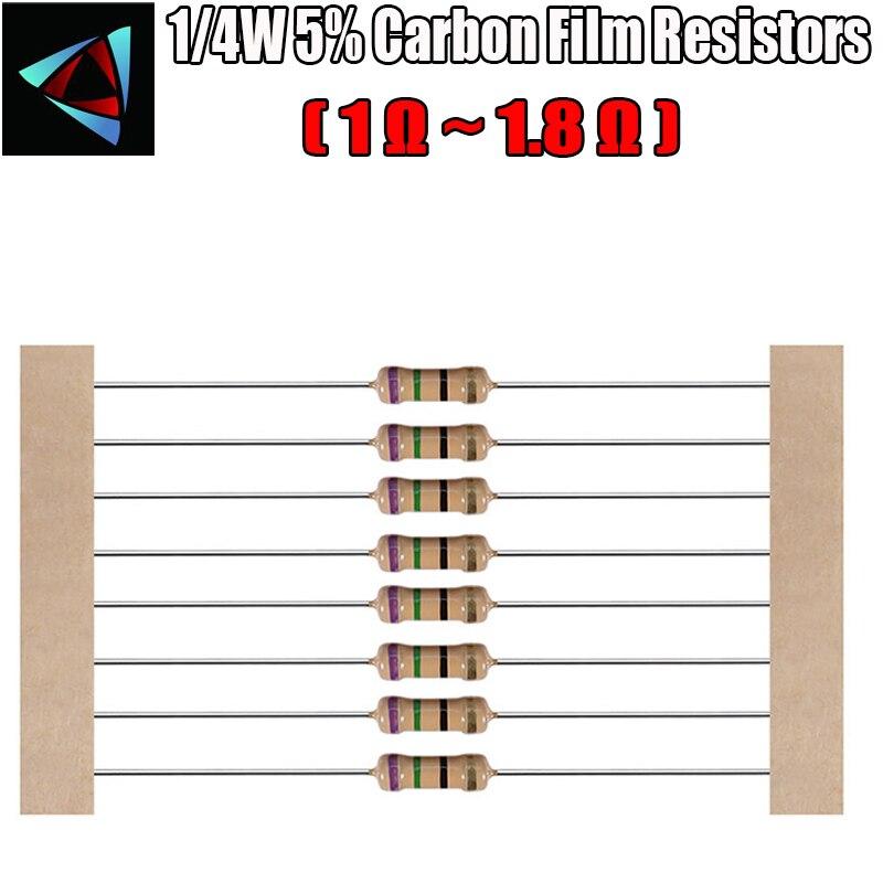 100pcs 1/4W 5% Carbon Film Resistor 1 1.2 1.5 1.6 1.8 Ohm