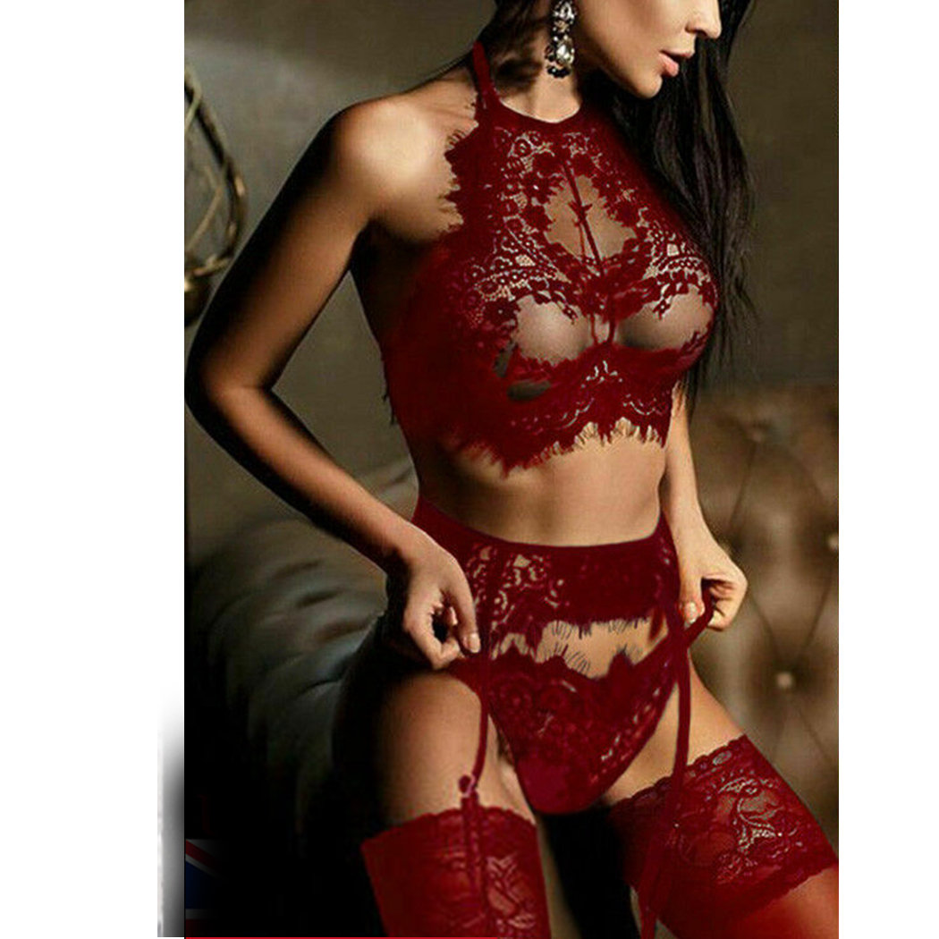 3PCS Bra G-String Garter Suit Womens Sexy Lingerie Lace Top Bra Set Lady Thong Underwear Set Female Fashion Top Erotic Lingerie