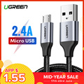 Ugreen Micro USB Cable 2.4A Phone Fast USB Charge Cable for Xiaomi Redmi Note5 Micro USB Charger Data Cable for Samsung USB Cord