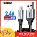 Ugreen Micro USB Cable 2A Cable de datos de carga rápida para Xiaomi Redmi Nota 5 Huawei HTC Cable del cargador del teléfono móvil cable Micro USB