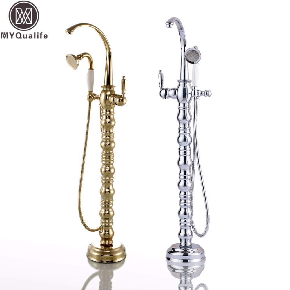 Chrome Golden Floor Mount Tub Filler Bathtub Floor Faucet Single Handle Free Standing Bathroom Bath Shower Set sea sky bath shower curtain floor rug 2pcs set