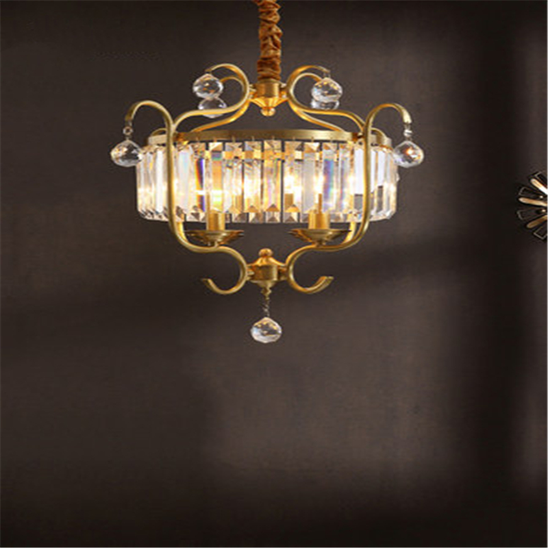 All copper Post modern Crystal Chandelier Personality Creative Study Bedroom Simple Dining Room Balcony Lamp|Pendant Lights| |  - title=