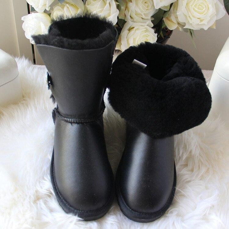 2019 mody najwyższej jakości kobieta śnieg buty prawdziwa skóra jagnięca skórzane buty damskie 100% naturalne futro ciepłe wełniane buty zimowe buty w Buty do połowy łydki od Buty na  Grupa 2
