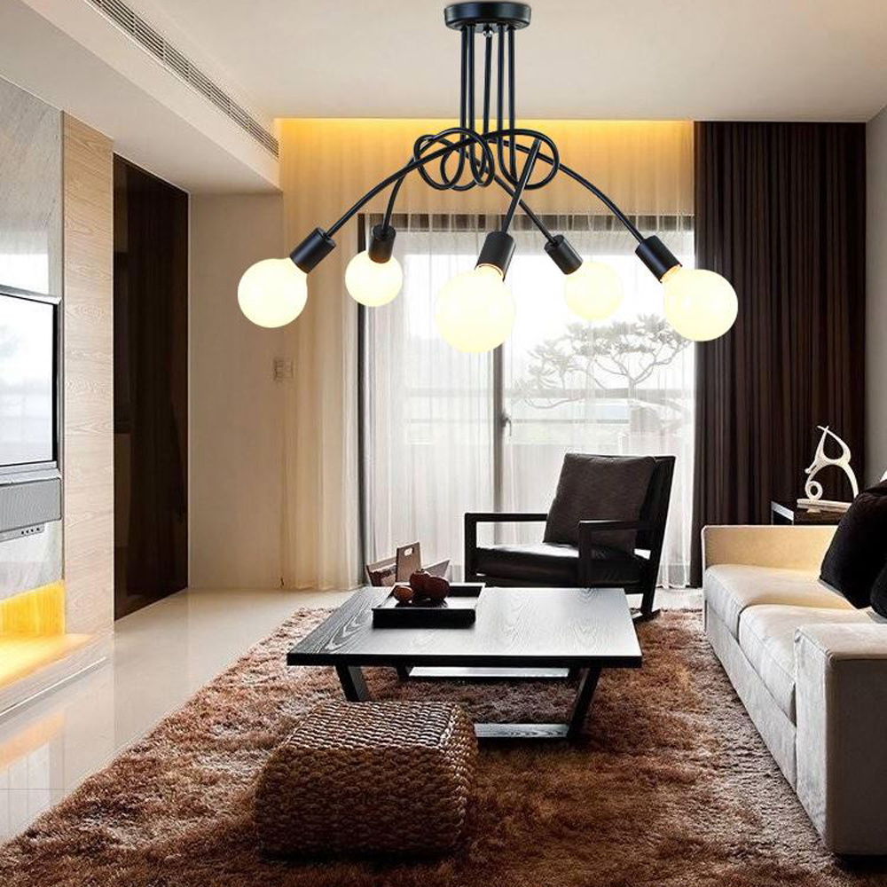 The Living Room Restaurant Us 69 7 Three Five Heads Led Vertical Chandelier The Living Room Restaurant E27 Irregular Shape Lamp Adjustable Lamp Decorative Lighting In Pendant
