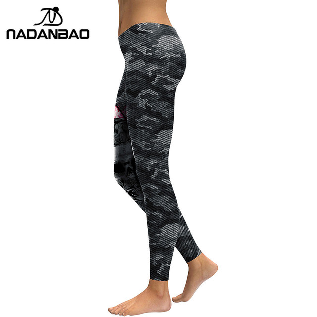 NADANBAO New Arrival Leggings Women Skull Head 3D Printed Camouflage Legging Workout Leggins Slim Elastic Plus Size Pants Legins 1