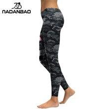 NADANBAO New Arrival Leggings Women Skull Head 3D Printed Camouflage Legging Workout Leggins Slim Elastic Plus Size Pants Legins