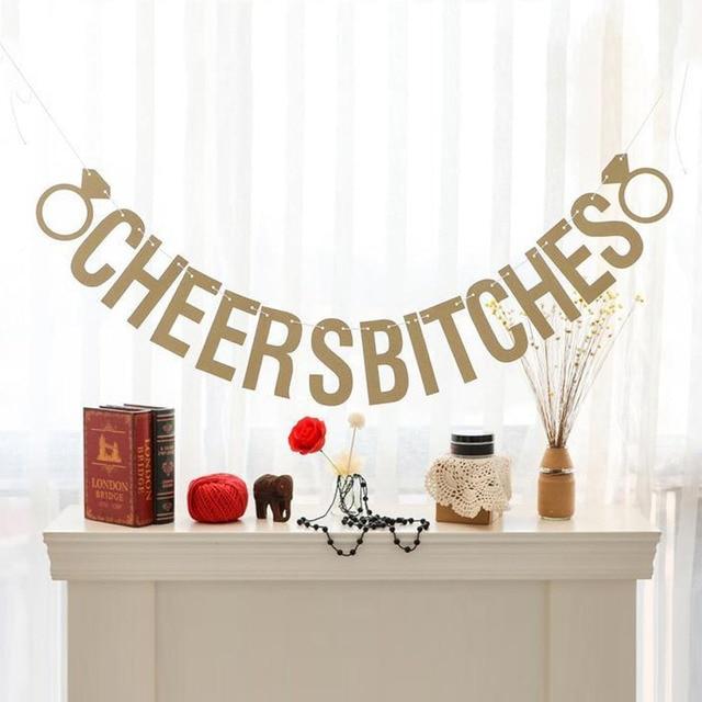 골드 스파클리 파티하자 bitches & cheers bitches 사진 배경 생일 파티 배너 bachelorette party banner party decors