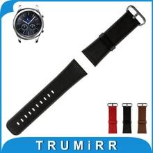 22mm Véritable Bande de Montre En Cuir + Outil pour Samsung Gear S3 Classique/Frontière Acier Inoxydable Boucle Courroie de Poignet Bracelet