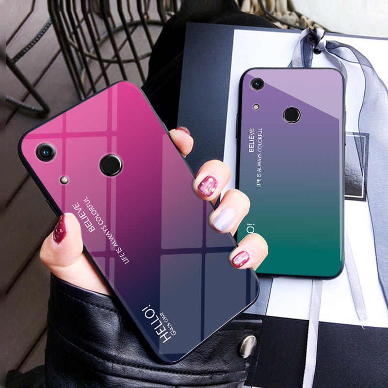 For Huawei Honor 8A Cover Slim Fit Glossy Tempered Glass Soft Silicone Frame Shockproof Hard Cover for Capa Huawei Honor 8A Case