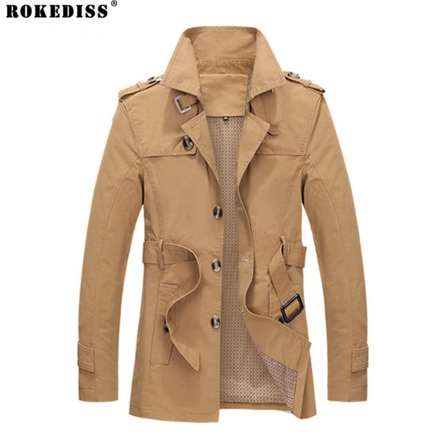 2016 Autumn Winter Fashion Brand-Clothing Jacket Men Casual Slim Fit Long Mens Coats High-quality Cotton Jackets For Men TC427