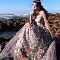 MAIXU New Spring Summer Women Ladies Vintage Retro Elegant Slim 3 4Sleeve Luxury Emboridery Bohemia Beach