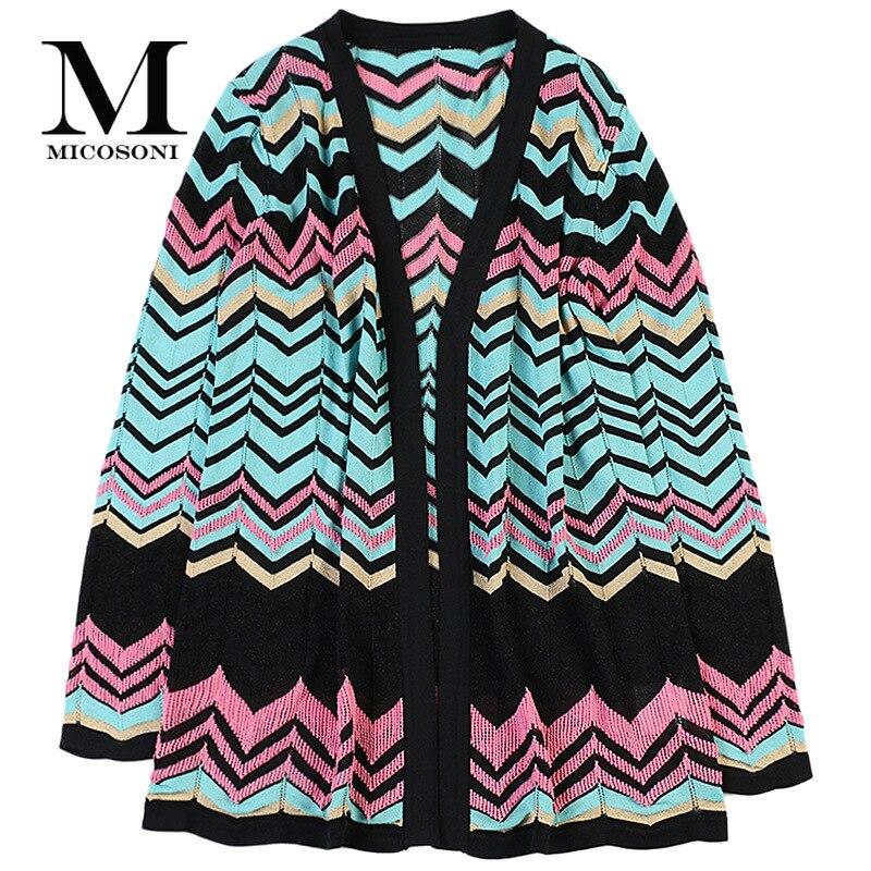 Micosoni décontracté mode automne 2019 nouveau femmes vague rayure or à manches longues lâche tricoté Cardigan chandails rose bleu noir