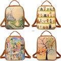 Леди рюкзак женский bolsa mochila feminina холст печать рюкзак девушки школьные сумки для подростков рюкзак пу bagpack