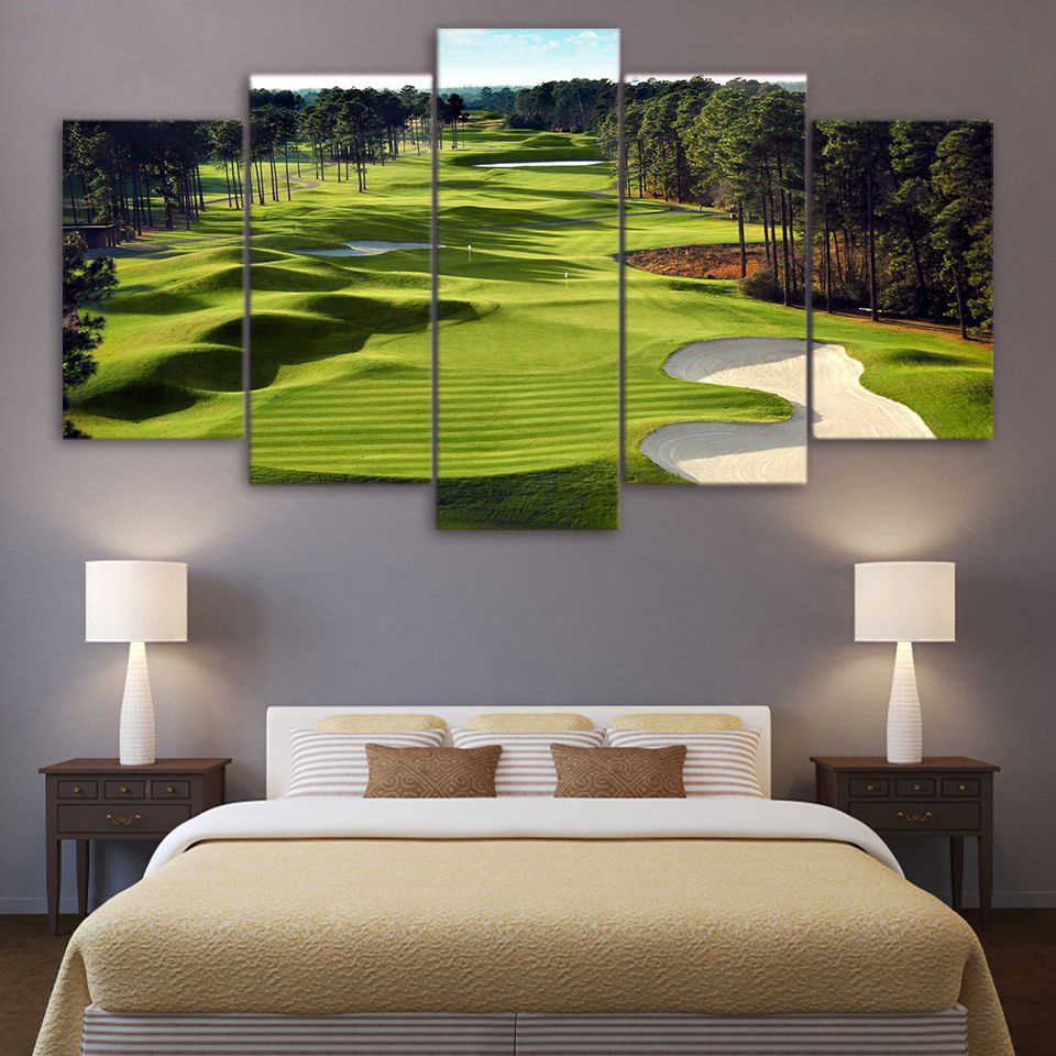 Framed Modular Pictures Vintage Home Decoration Paintings On Canvas 5 Panel Golf Course Posters And Printed On The Wall