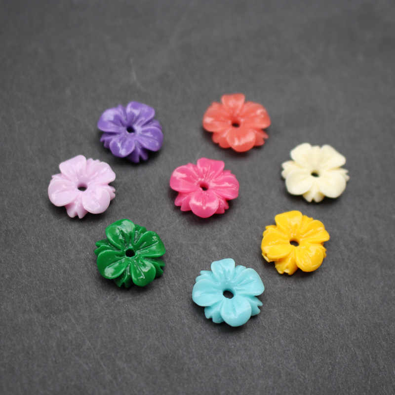 (20 pieces/lot)  Carved flower and leaf 14mm Space parts Multi-color Synthic Coral Findings for Jewelry making